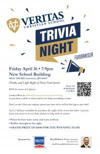 Trivia Night Fundraiser @ New Veritas Gymnasium